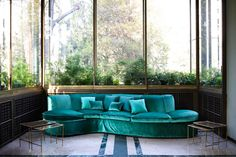 dedar milano goes inside the historic villa necchi campiglio sofa: 'splendido', viscose and silk velvet with a 4mm thick pile, col. 31 malachite cushions: 'splendido', col. 31 malachite: 'fanfara', col. 145 malachite; 'pallade', col. 78 petrole