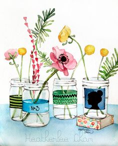 Watercolor Flower Painting Mason Jars Cameo Print 5x7 on Etsy, $8.00