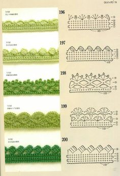 Crochet Edgings with pattern charts. Loads of crochet Motifs, flowers & beautifu… Crochet Edgings with pattern charts. Loads of crochet Motifs, flowers & beautiful Edging patterns at site ! Crochet Boarders, Crochet Lace Edging, Crochet Diy, Crochet Motifs, Crochet Diagram, Crochet Stitches Patterns, Crochet Chart, Crochet Designs, Thread Crochet