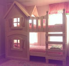 The Dollhouse Bunkbed by Imagine THAT! Playhouses & More... Princess Room, Princess Bunk Beds, Boy Bunk Beds, House Bunk Bed, Kid Beds, Shared Bedrooms, Little Girl Bedrooms, Big Girl Rooms, Girls Bedroom