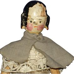"""Early 5"""" Peg Wooden Doll with Side Curls Grodner Tal 1880's on"""