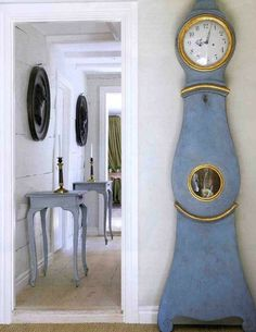We love the sheer simplicity and grace of this blue and gold Mora clock. From Cote de Texas. Swedish Decor, Swedish Style, Swedish Design, Nordic Style, Swedish House, Danish Design, Swedish Interiors, Scandinavian Interior, Home Interior