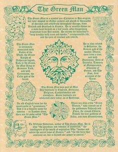 """The Green Man """" The Green Man is a symbol pre - Christian in his origins, but later adopted by Gothic carvers and placed in thousands of church's and cathedrals throughout Europe, from Ireland, Scotland to Russia."""" Quote from poster. Poster with history and multiple depictions of the Green Man. 8 1/2"""" x 11"""". - See more at: http://www.azuregreen."""