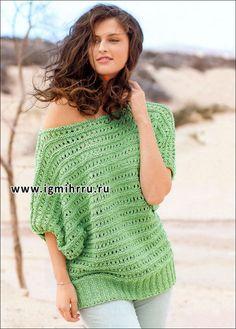 Зеленый пуловер из ажурных полос. Спицы