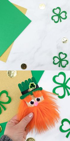 Popsicle Stick LeprechaunIn this easy step-by-step video tutorial, kids will learn how to make a fun popsicle stick leprechaun craft for St. leprechaun craftCraft stick bird puppetsEasy bird puppets to make from craft Pot Mason Diy, Mason Jar Crafts, Bottle Crafts, March Crafts, St Patrick's Day Crafts, Holiday Crafts, Holiday Ideas, Popsicle Stick Crafts, Craft Stick Crafts