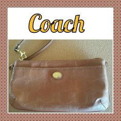 "Large Leather Coach Wristlet 10"" long.  Credit card slots and 3 separate compartments. Please see all pics. Coach Bags Clutches & Wristlets"