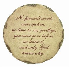 Word Stones Wholesale | Sympathy Stone: No farewell words were spoken