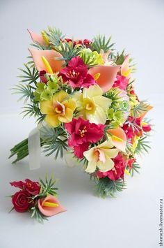 Свадебный букет с красными лилиями - ярко-красный,букет невесты,свадебный букет