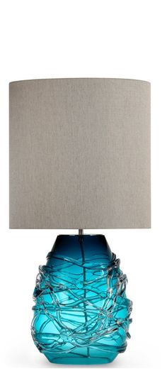 Table Lamps, Designer Blue Art Glass Table Lamp, so beautiful, one of over 3,000 limited production interior design inspirations inc, furniture, lighting, mirrors, tabletop accents and gift ideas to enjoy repin and share at InStyle Decor Beverly Hills Hollywood Luxury Home Decor enjoy  happy pinning