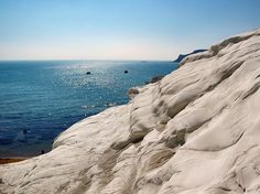 "A strange beach near Agrigento, the ""Scala dei Turchi"". For other photo of Sicily look HERE if you want! Sicily Hotels, Places In Italy, Sicily Italy, Southern Italy, Beautiful Places In The World, Reggio, Italy Travel, Italy Trip, Vacation Destinations"