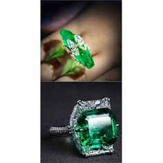 These @formsjewellery rings pretty much tick all my lusty jewellery porno boxes!  Two Colombian emerald briolettes set in a shield shaped diamond ring. 15 carat Colombian emerald and diamond ring.