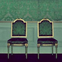 sadie + stella. jade chairs for a jade room. love me some malachite.