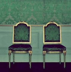 sadie + stella. jade chairs for a jade room. love me some malachite.