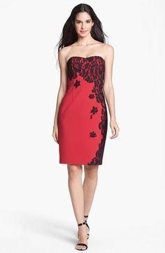 Could be pretty accessorized well. (Aidan Mattox | Lace Appliqué Ponte Knit Dress)