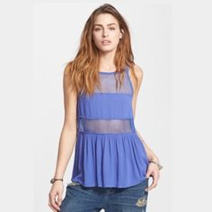 🆕Free People Free People. Slightly frayed at the bottom. Color: Dutch blue. Size Small. Brand new. Mesh panels. 🌊💙 😘 no trades 🌎tags: fp, free, light, mesh, nwt, summer, spring, coverup, swim Free People Tops Camisoles