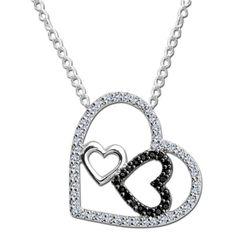 10K White Gold Black and White Diamond Heart Pendant #heart #valentines #necklace