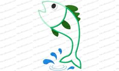 Fish Jumping Out of Water Applique Embroidery Design is jumping up to catch the worm. Strategic placement can lead to a naughty gift for any fisherman.