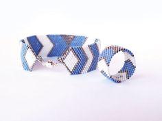 Arrows and Bows - Chevron geometric, Modern urban style - Peyote bracelet, Peyote band ring jewelry set Handwoven, denim blue, white, silver