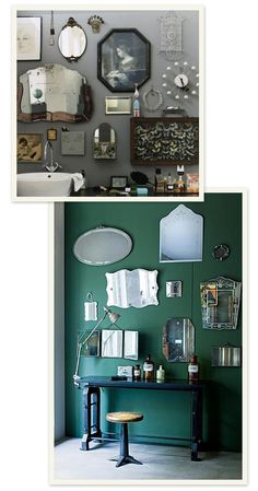 WOW!! I really, really like the mix of mirrors & eclectic items on the wall display. More Design Please - MoreDesignPlease - Mirrors Mirrors on the Wall