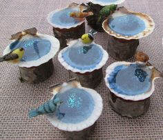 Brown Bird on Miniature Fairy Garden Bird Bath - Micro Terrarium Bird Bath…