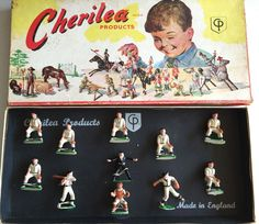 FARLEY'S FIGURE OF THE WEEK #148:  Although The Game of baseball has often been referred to as America's Pastime, it received scant attention from traditional toy soldier manufacturers. An exception was an English firm called Cherilea. Among the novelties was an 11-piece set of American baseball players intended for the U.S. market. Included in the set were seven infielders and outfielders, a pitcher in full throwing motion, a catcher, a batter and an umpire giving the safe sign.