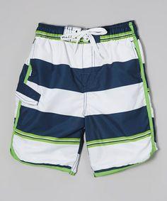 Look what I found on #zulily! White & Navy Stripe Swim Trunks - Infant, Toddler & Boys #zulilyfinds