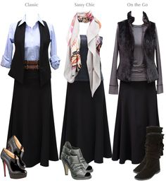 Love the long skirts...so comfortable, easy to wear in warm and cold weather and look GREAT with boots.