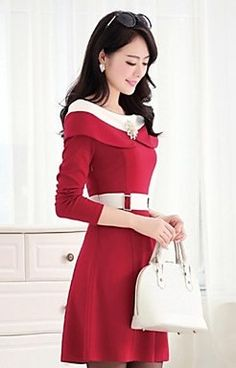 Lapel Neck All Matching Solid Color Dress