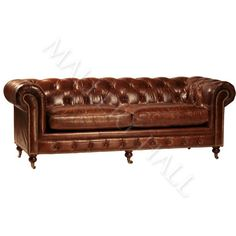 $4,310 Vintage Chesterfield Distressed Aged Leather Sofa | eBay