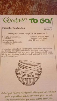 Dill Weed, Cucumber Sandwiches, Good Enough To Eat, Meal Planner, Salad Dressing, Mayonnaise, Tea Party, Veggies, Cooking Recipes