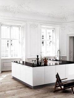 love the shape of this kitchen, would include a back wall with fridge, sink, stove, dishwasher, etc.