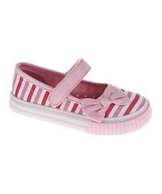 Loving this Pink Stripe Bow Mary Jane Sneaker - Girls on #zulily! #zulilyfinds