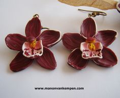 handsculpted polymer clay Red orchid earrings