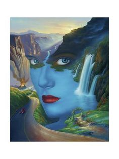 mother nature - Jim Warren is a U. self-taught artist best known for audio album and book cover artwork. He has worked in surrealistic fantasy since about Jim uses traditional oil paint and brushes on stretched canvas Fantasy Paintings, Cross Paintings, Art Paintings, Surrealism Painting, Artist Painting, Boat Painting, Fantasy Kunst, Fantasy Art, Jim Warren