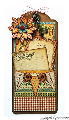 Just click the photo to get to this great French Country tag tutorial. How gorgeous! #graphic45 #tags #tutorials