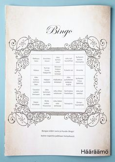 """Hääbingo. Bongaa viiden suora ja huuda """"Bingo!"""". Kolme nopeinta palkitaan herkullisesti. http://www.haaraamo.fi"""