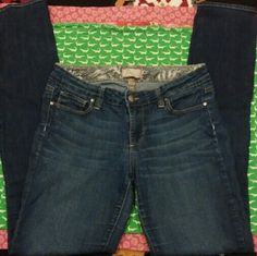 """Paige Premium Denim Peg Skinny 28 Excellent used condition dark blue skinnies with slight whiskering & fading on thighs. 5pocket. Soft & stretchy 80% cotton, 19% polyester, 1% spandex. No fraying at hems, no exterior inner thigh wear, no stains or rips. Throw on a tank, oversized sunglasses, a giant floppy hat, & enjoy comfy skinny jeans while you look vacation chic everyday.   Waist (flat) 14.5""""; rise (at front) 8""""; length (from inner thigh) 31.75"""" Paige Jeans Jeans Skinny"""