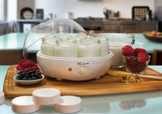 Euro Cuisine YM100 Yogurt Maker, includes 7 glass jars that are 6 ounces each with lids. Make homemade yogurt in 6 -10 hours. Visit http://www.webnuggetz.com/yogurt-maker-machine-for-home/ to see more.