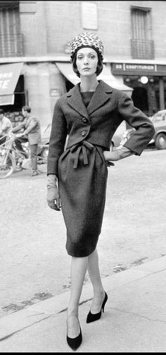 1959 - Kouka wears the perfect town suit with leopard pill box hat by Yves Saint Laurent for Dior, photo by Willy Maywald