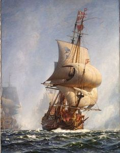 The Breakthrough at the Battle of Koge Bay (ca. by Christian Molsted. The painting depicts the Danish Admiral, Niels Juel's, flagship Christianus Qvintus breaking through the Swedish line at the Pinterest Pinturas, Old Sailing Ships, Ship Of The Line, Ship Drawing, Ghost Ship, Ship Paintings, Wooden Ship, Nautical Art, Tall Ships