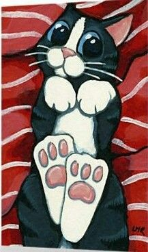 'Belly Rub Please' Greeting Card by Lisa Marie Robinson Canvas Painting Tutorials, Fabric Painting, Easy Canvas Art, Cat Character, Rock Crafts, Cat Drawing, Whimsical Art, Crazy Cats, Cat Art