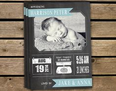 Announcement - Custom Birth Announcement Baby Boy Chalkboard Printable on Etsy, $16.00