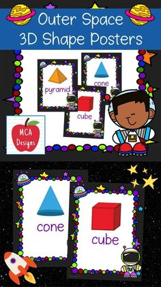 These colorful 3D shape posters are part of my Outer Space Classroom Decor collection. Each poster features various 3D shapes accented with bright colors and space themed graphics! #teacherspayteachers #tpt #3dshapes Space Classroom, Classroom Supplies, Classroom Posters, Classroom Decor, Teacher Boards, Teacher Blogs, Teacher Resources, Triangular Prism, Shape Posters