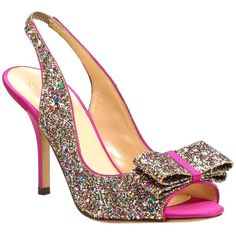 Pre-owned Kate Spade New New York Glitter Pink Bow Heels Holiday Party... ($199) ❤ liked on Polyvore featuring shoes, sandals, multicolor pink, elastic sandals, fancy sandals, multi color sandals, colorful sandals and pink glitter shoes