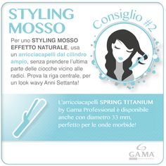 Styling mosso e #arricciacapelli? Prova con Spring Titanium 33 mm e segui i nostri consigli per ottenere un effetto naturale! /// Wavy #hairstyle with a curling iron? Try Gama Spring Titanium 33mm and follow our tips to have a natural effect! #gamaitalia #gamaprofessional #beautytechnology #ferri #curlingiron #curlingirons #iron #irons #hair #capelli #mossi #wavy #curly #beachwaves #howto #tutorial #tips #hairtips www.gamaprofessional.it/Ferri/Titanio_33mm