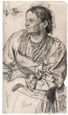 "Adolf Menzel, Woman from the Tyrol"" (1886). Pencil on paper"