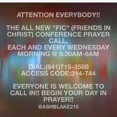 SET YOUR ALARM CLOCK NOW!! Prayer is tomorrow morning at 5:30 AM!! Even if you are tired just call in and put your phone on speaker while you fall back asleep lol WHAT BETTER WAY TO START YOUR DAY THAN TO PRAY?!? #prayer #beblessed #jesus #christian #inspiration #forgive #forgiveness #god #ficprayerconferencecall #friends #friendsinchrist #bible #scripture #prayerworks #prayer #beblessed #jesus #christian #inspiration #forgive #forgiveness #god #ficprayerconferencecall #friends…