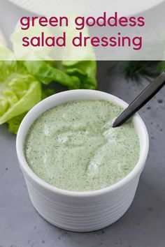 You'll love yogurt-based healthy green goddess dressing, packed with fresh tarragon, parsley, chives, and dill. So fresh and beautiful, it's great for salads or as a dip. Homemade Dressing Recipe, Green Goddess Salad Dressing, Great Recipes, Favorite Recipes, Homemade French Fries, Rabbit Eating, Simple Green Salad, Recipe Please, Plain Greek Yogurt