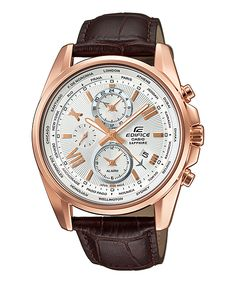 Casio edifice world map efr 304bl 1avuef casio edifice watches casio edifice mens chronograph rose gold leather watch awesome products selected by anna churchill gumiabroncs Images