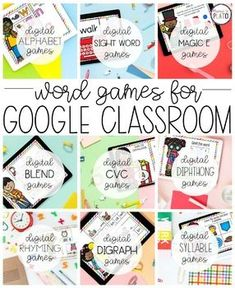 If you're teaching with Google Classroom, these super fun word work games are a must-grab! Play alphabet games, practice sight words, work on magic E activities... There's just so much here.  #firstgrade #kindergarten #literacycenters #googleclassroom #distancelearning Literacy Games, Spelling Activities, Sight Word Activities, Kindergarten Centers, Literacy Centers, Word Work Games, Digital Word, Cvce Words, Making Words